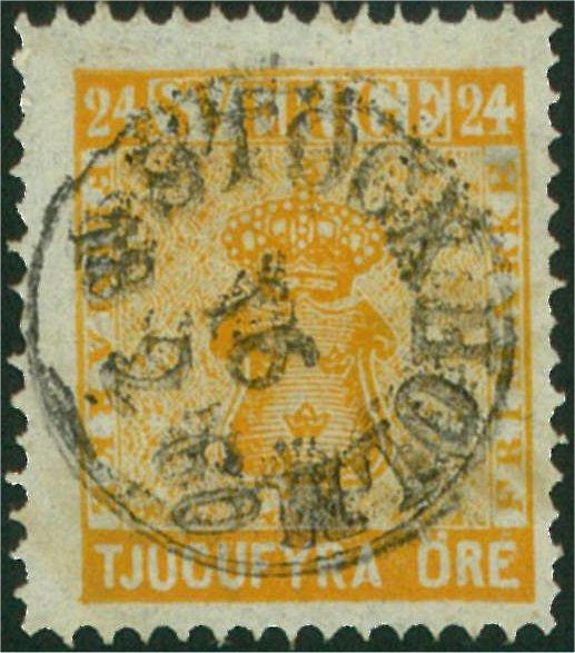 svenska frimärken 24 öre vapentyp i nyanser