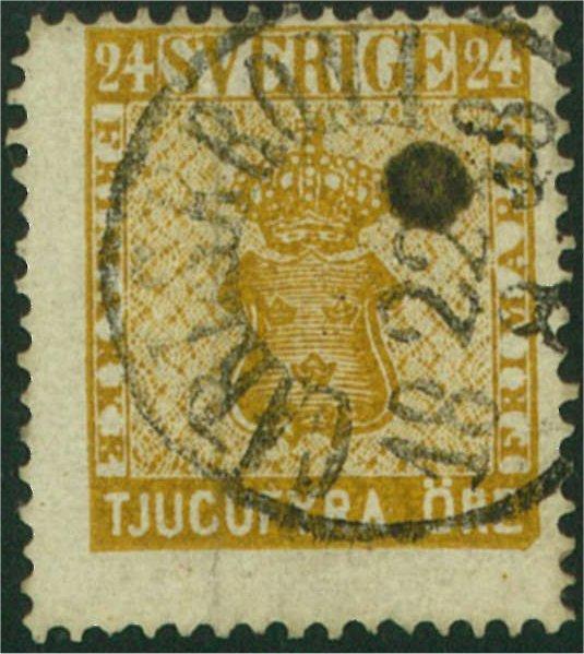nyanser på svenska frimärken 24 öre vapentyp