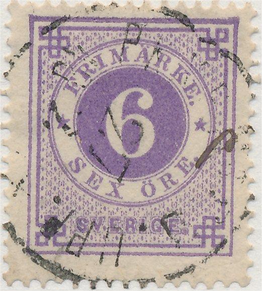 nyanser på det svenska frimärket 6 öre ringtyp tandning 14