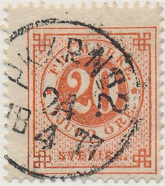 Dubbeltrycket 20 på 20 öre ringtyps frimärke nyans a