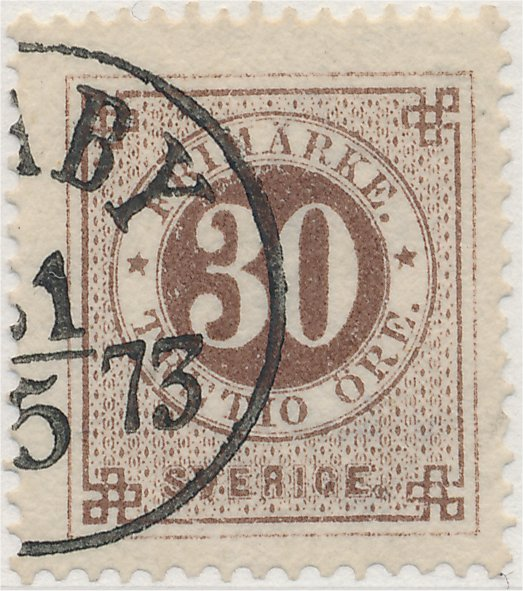 svenskt frimärke 30 öre ringtyp tandning 14