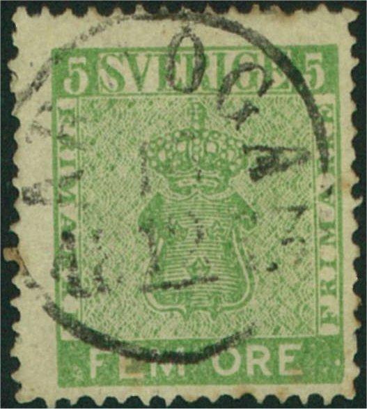 svenskt frimärke 5 öre vapentyp