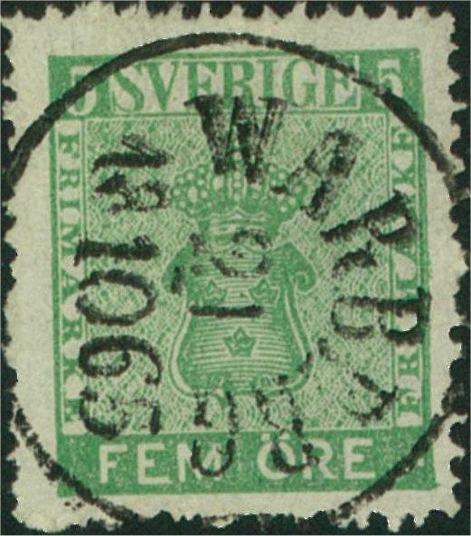 svenska frimärken 5 öre vapentyp 1858