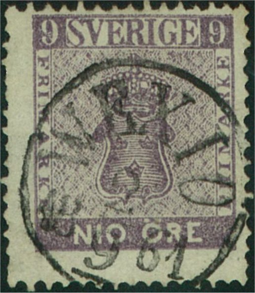 svenskt frimärke 9 öre vapentyp 1858