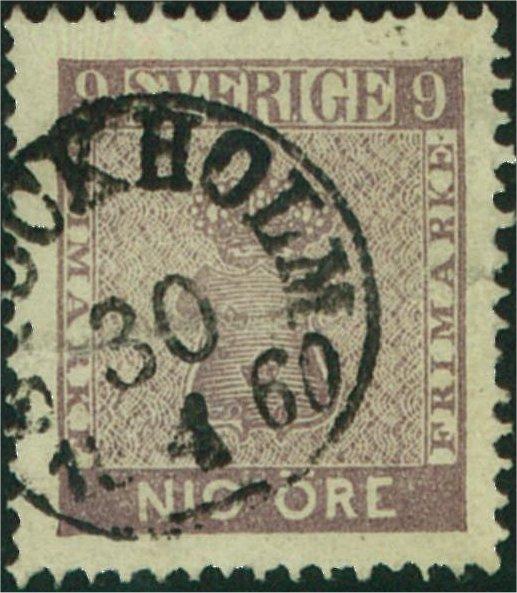 svenska frimärken 9 öre vapentyp 1858