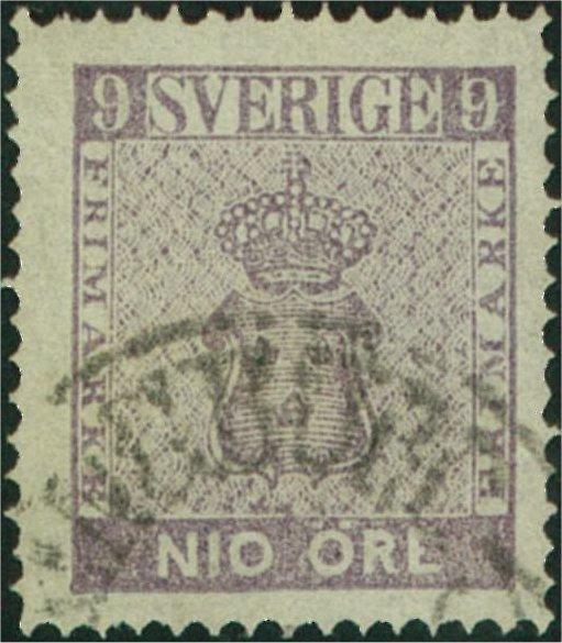 nyanser på svenska frimärken 9 öre vapentyp