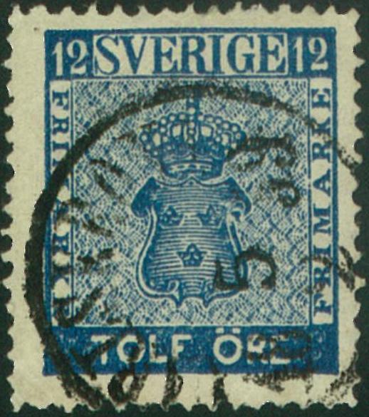 svenskt frimärke 12 öre vapentyp
