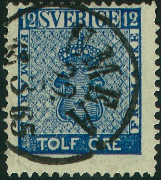 svenska frimärken 12 öre vapentyp i nyanser