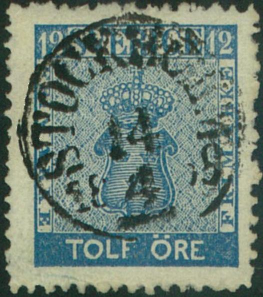 svenska frimärken nyanser 12 öre vapentyp