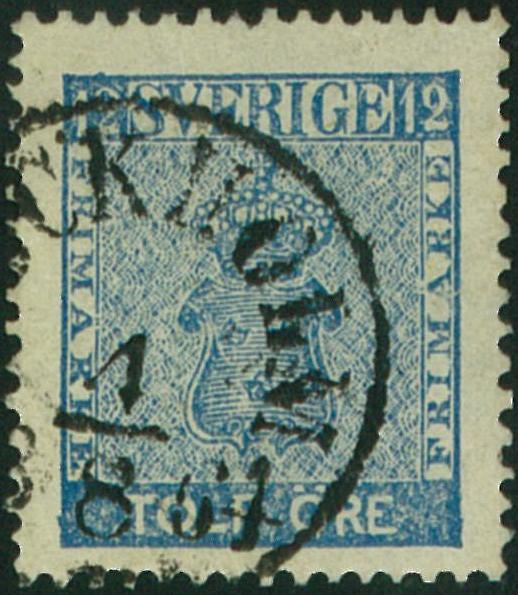 färgnyanser på svenska frimärken 12 öre vapentyp