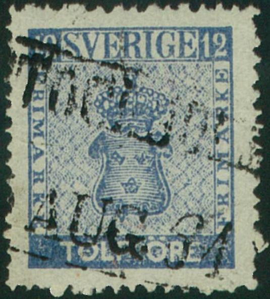 svenskt frimärke 12 öre vapentyp 1858-1872
