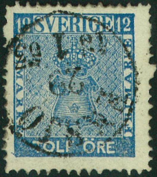 frimärke 12 öre vapentyp blå med tätt bottentryck
