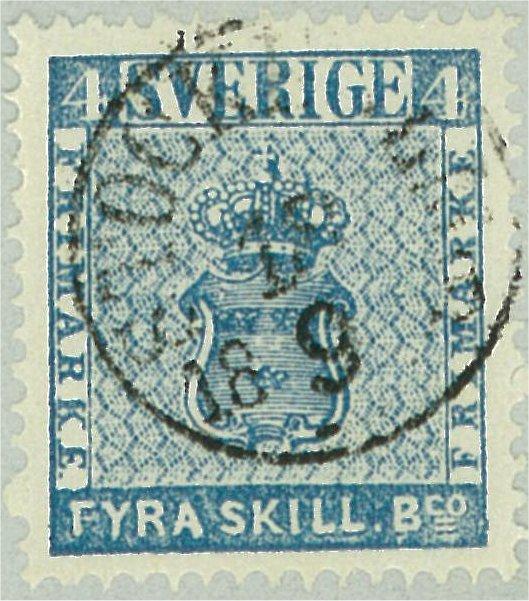 frimärke 4 skilling banco