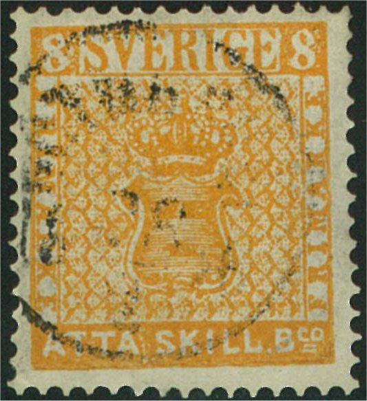 svenskt frimärke 8 skilling banco