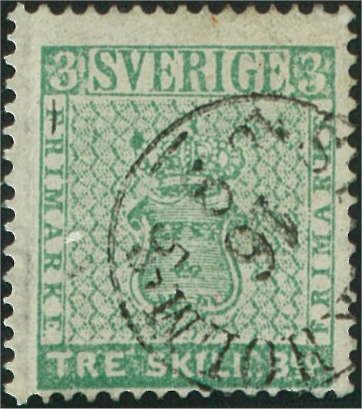frimärke 3 skilling banco ljust blåaktigt grön