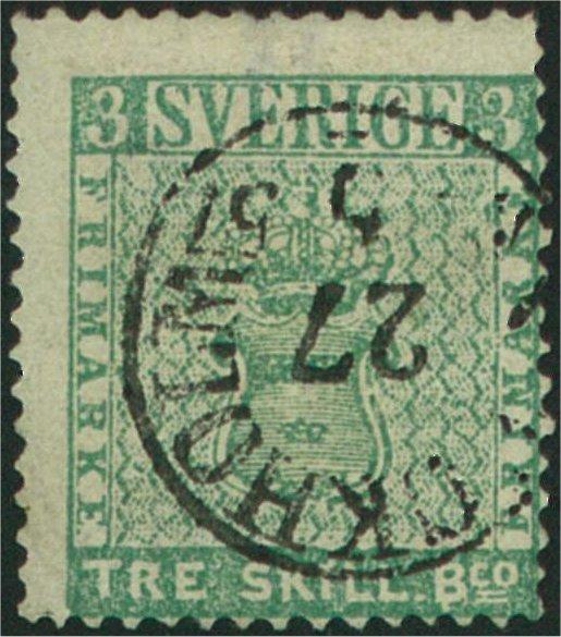 frimärke 3 skilling banco blåaktigt grön