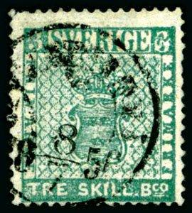 frimärke 3 skilling banco blågrön