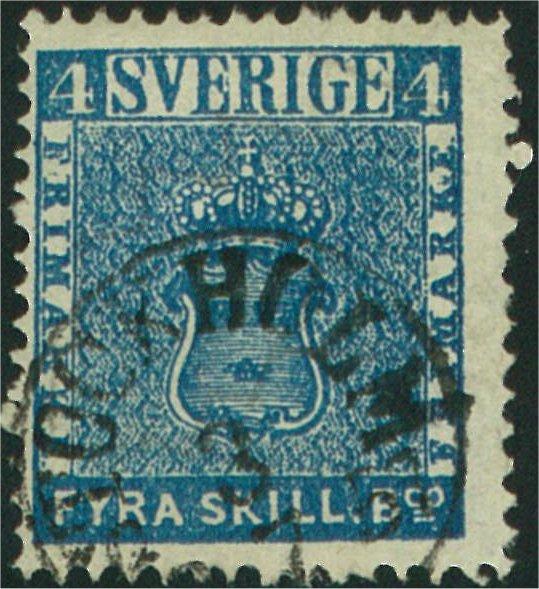 frimärke 4 skilling högblå, leverans 6d