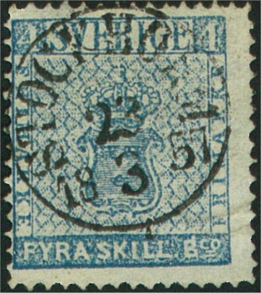 frimärke 4 skilling banco blå