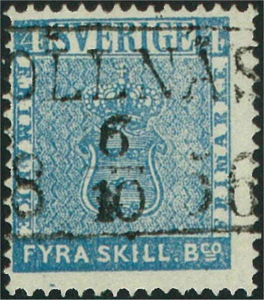 frimärke 4 skilling blå med tätt bottentryck