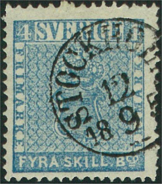 svenskt frimärke 4 skilling leverans 9a