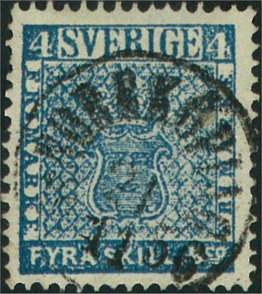 svenskt frimärke 4 skilling banco högblå