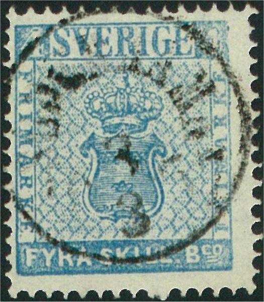 frimärke 4 skilling ljusblå