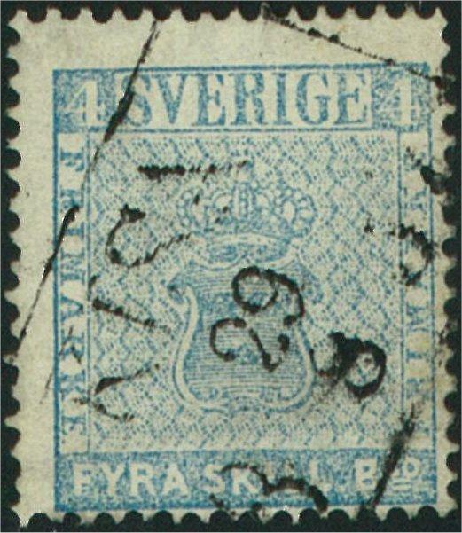 frimärke 4 skilling banco blekblå