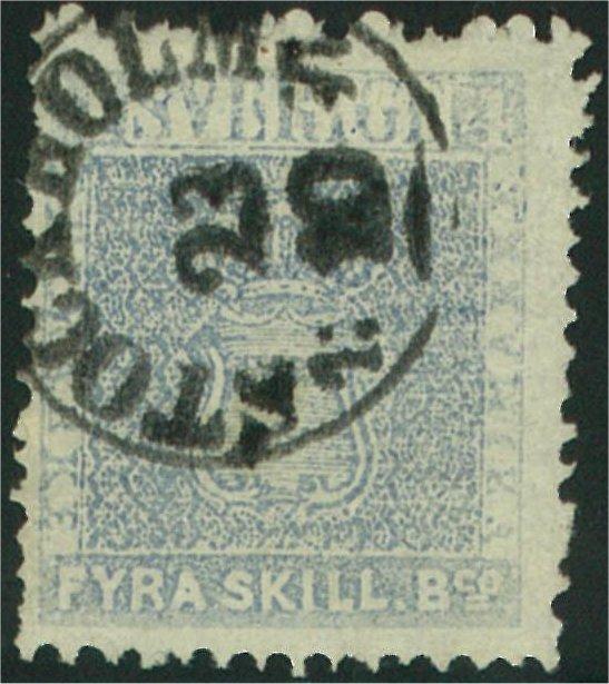 frimärke 4 skilling skiffergrå
