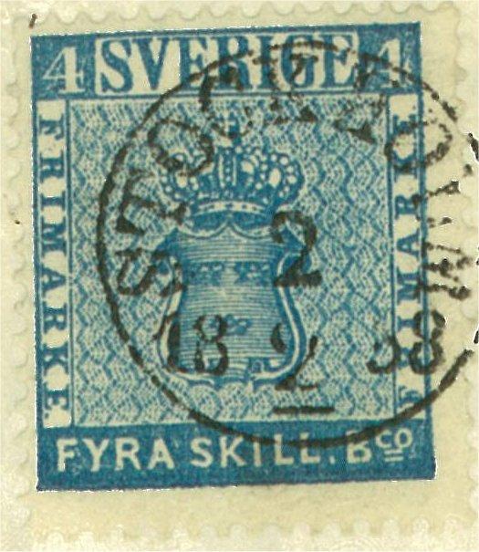 svenskt frimärke 4 skilling leverans 12b