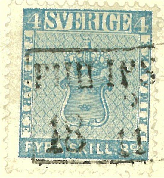 frimärke 4 skilling leverans 12c