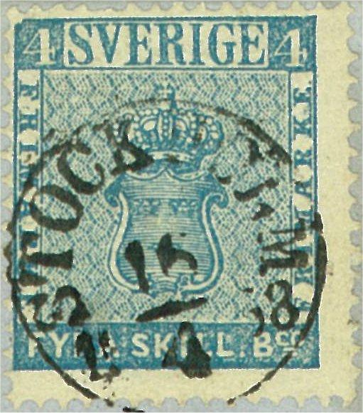 frimärke 4 skilling banco leverans 13a