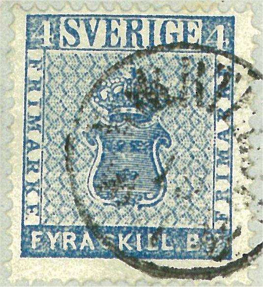 frimärke 4 skilling leverans 13b