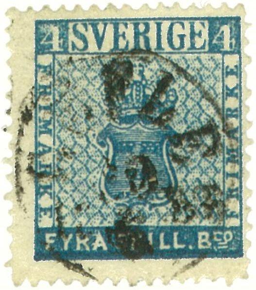 frimärke 4 skilling leverans 14a2
