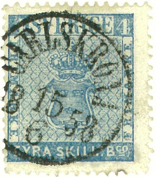 frimärke 4 skilling leverans 14b1