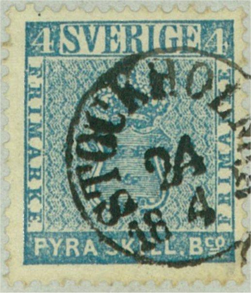 svenska frimärken 4 skilling banco 1855