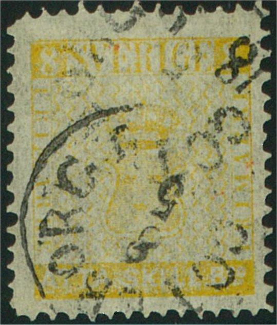 falskt svenskt frimärke 8 skilling