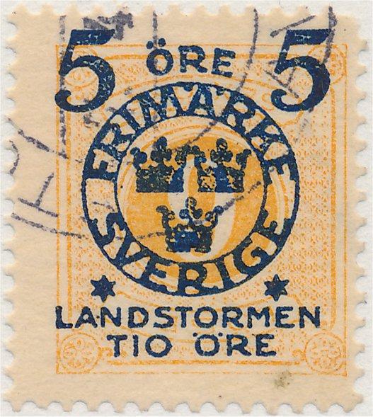 Omvänt påtryck på frimärket 5 på 6 öre Landstorm II
