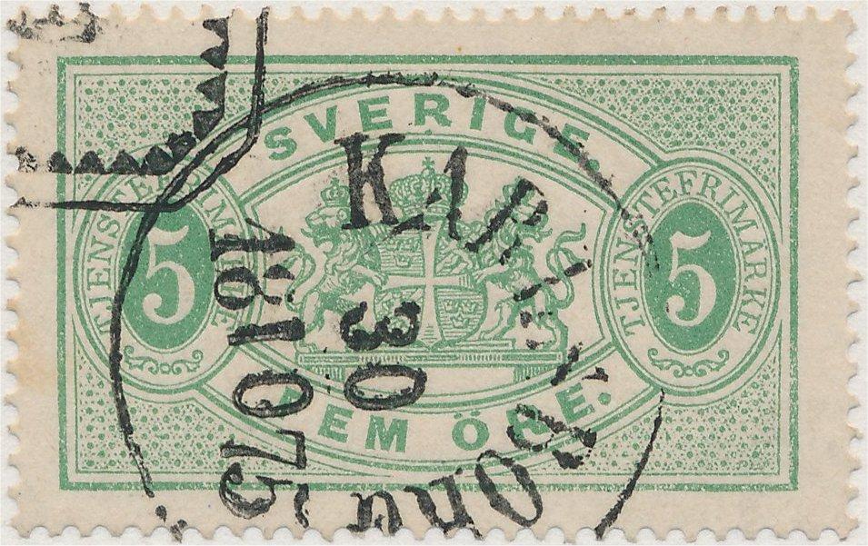 Tjänstefrimärke 5 öre grön tandning 14