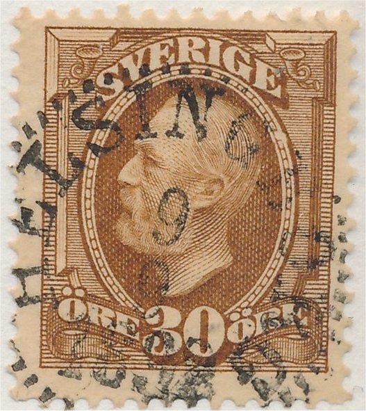svenskt frimärke 30 öre Oscar II gulaktigt brun