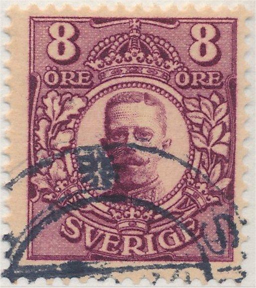 Svenskt frimärke 8 öre Medaljong