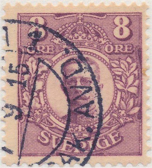 Nyanser på det svenska frimärket 8 öre Medaljong