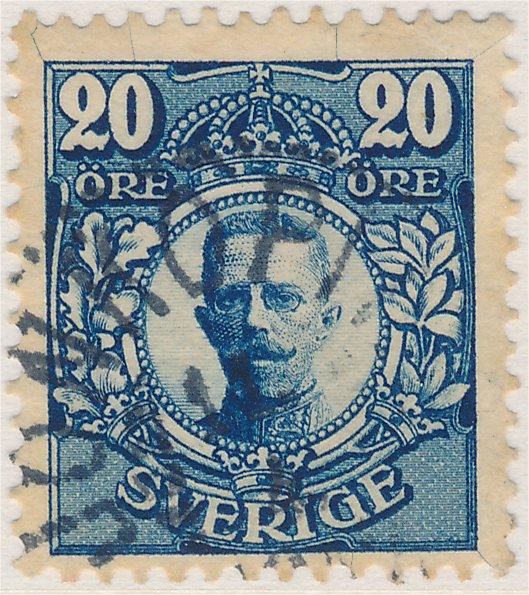 Plåtsprickor på svenskt frimärke 20 öre Medaljong