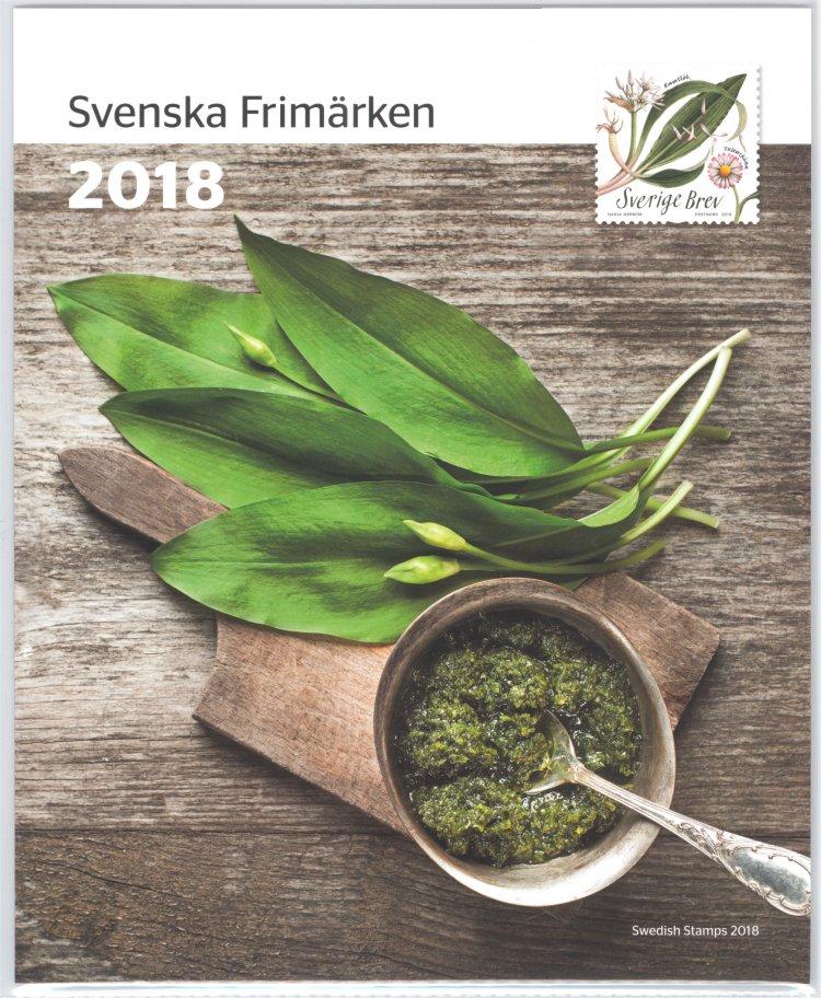 Postens årssats 2018 med svenska frimärken